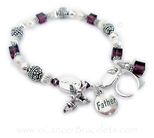 In Memory of my FATHER or DAD... shown with an IN MEMROY bead, Angel charm and an Open Heart Charm