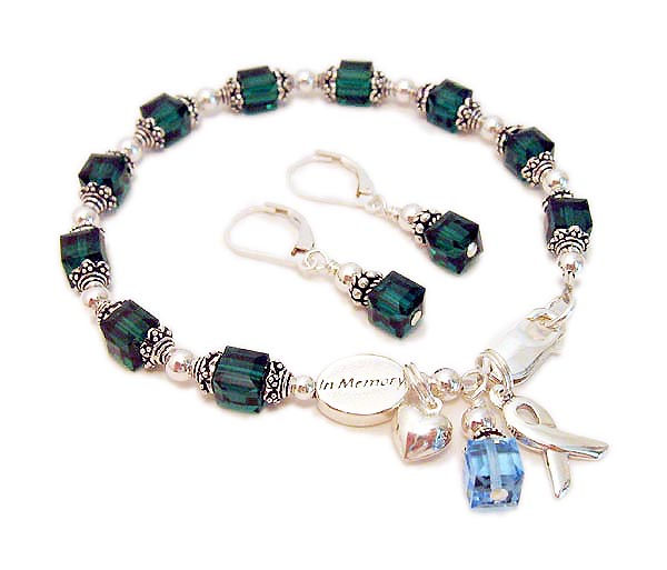 In Memory Bracelet - Green Ribbon Bracelet with an In Memory Bead and Heart charm