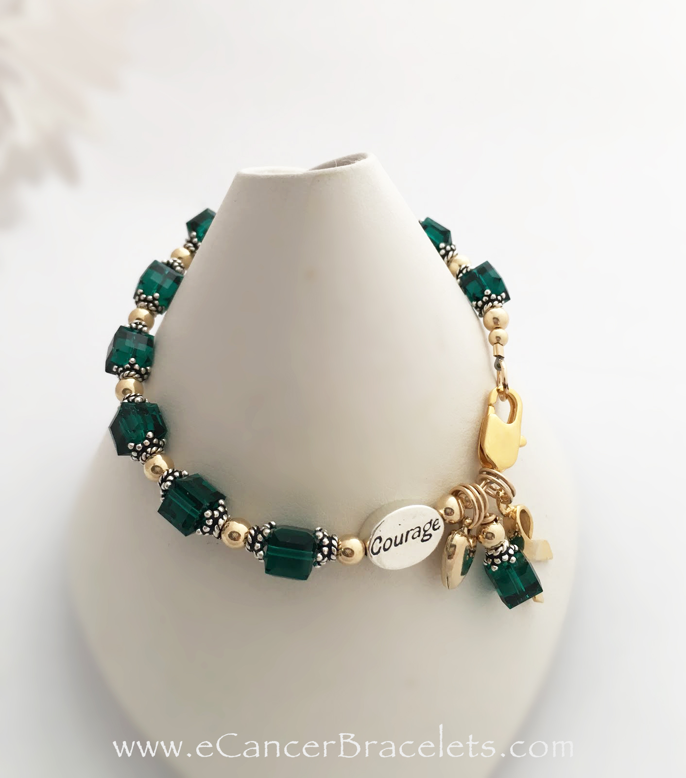 CBB-Ribbon 29 Gold and Green Courage Ribbon Bracelet