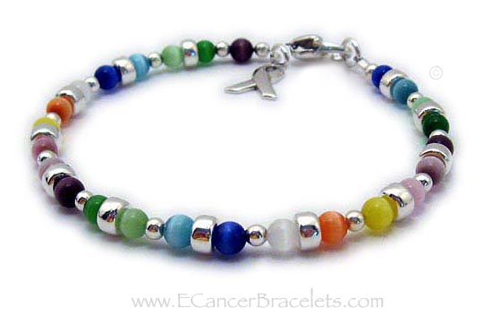 All Cancer Awareness Bracelet - all colors - CBB-R43 with a ribbon charm and heart charm.