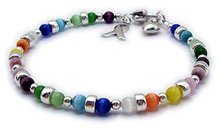 All Cancer Colors Bracelet with beautiful colorful  Cat's Eye Beads