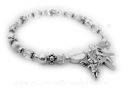 Lung Cancer In Memory Bracelet with 2 add-ons.  (CLEAR crystals) They added an Angle with Wings charm and Simple Cross Charm to their order. The sterling silver ribbon charm and Message Bead are included in the price.