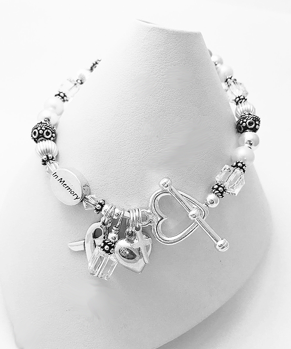 Lung Cancer In Memory Bracelet or Bone Cancer Bracelet shown with 4 add-ons; (Ribbon and Dangle come free) 1) Heart Toggle Clasp, 2)IN MEMORY bead,3) Puffed Heart Charm & 4) Tiny Cross Charm
