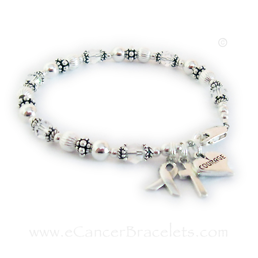 They added 2 add-ons to this Lung Cancer Courage Bracelet: A Courage in a Heart Charm and a Simple Cross Charm. The sterling silver ribbon charm is included in the price.