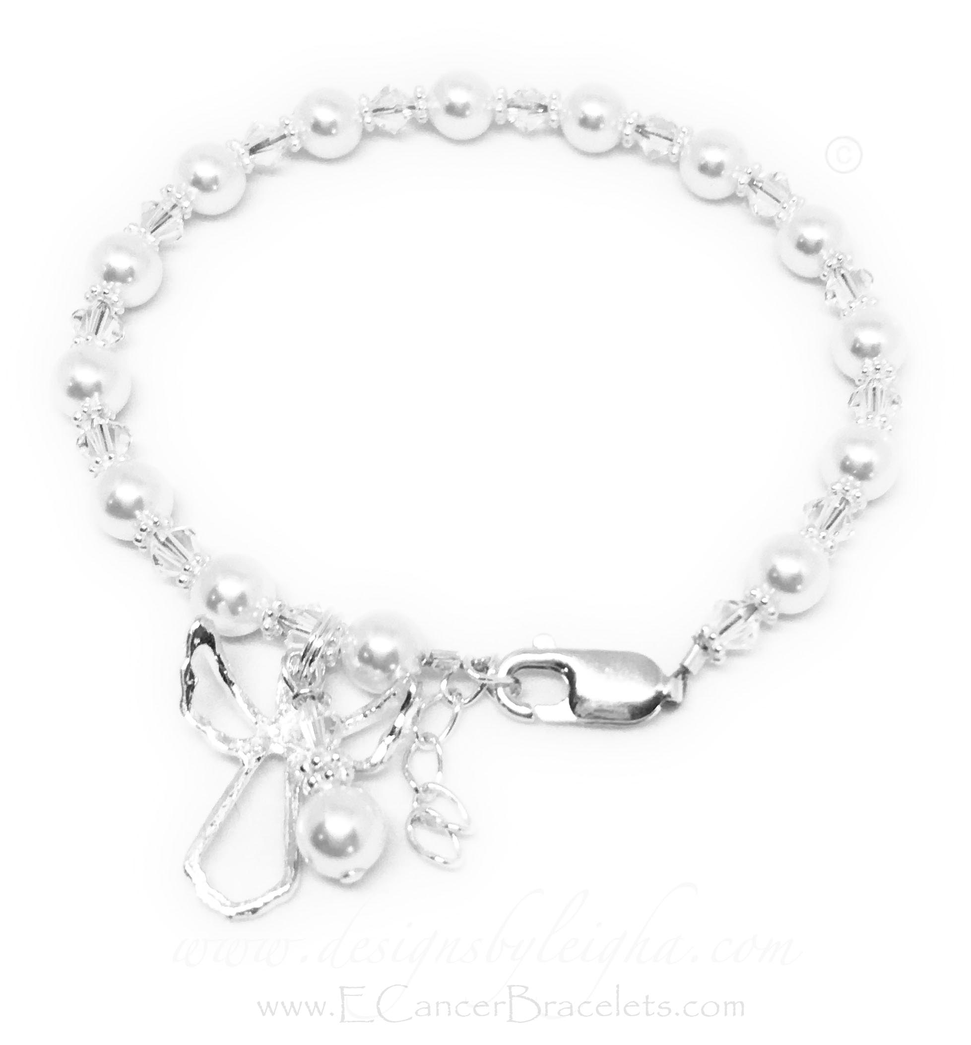 CBB-R70 Guardian Angel Bracelet shown with White Swarovski Pearls. The charms shown come with the bracelet. *Shown with an upgraded Lobster Claw with an Extension Clasp*