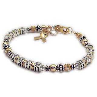Faith Hope and Love Lung  Cancer Bracelet with a Gold Ribbon Charm and Puffed Heart - CBB-R22