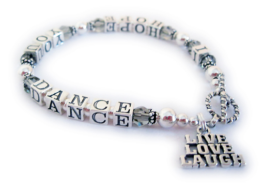 I Hope You Dance Ribbon Bracelet with Grey Crystals for Brain Cancer Awareness - CBB-Message-Bracelet5.5mm