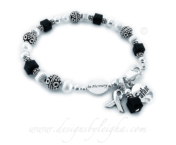 Daddy In Memory Bracelet with Black Crystals