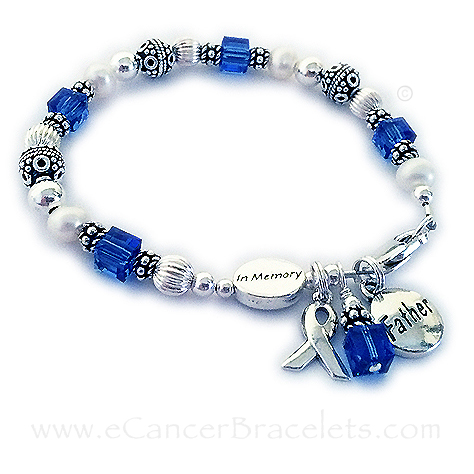 In Memory of Daddy bracelet with a Father charm and blue crystals for colon cancer.