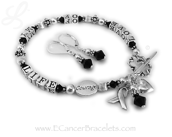 LOVE OF MY LIFE  bracelet with a COURAGE charm and earrings. CBB-R24