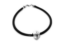Leather SURVIVOR bracelet - sterling