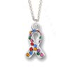 Autism Awareness Charm Necklace with bright colored crystals