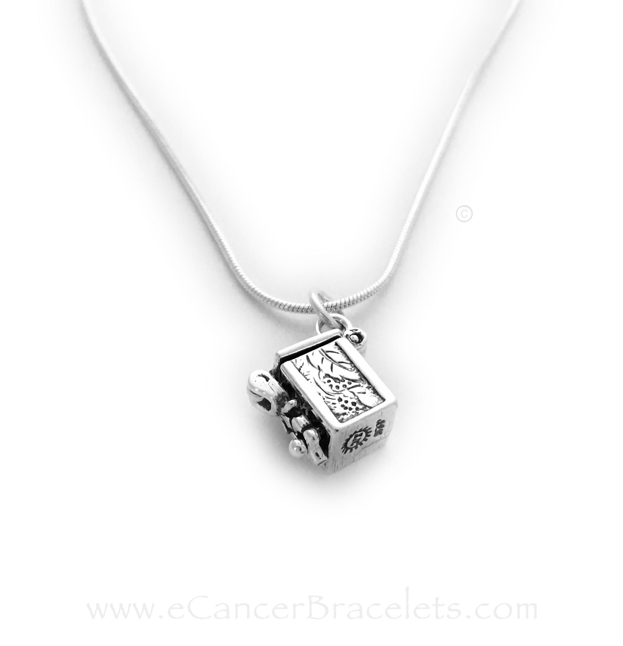 Side View of Sterling Silver Prayer Box Charm on a Sterling Silver Chain