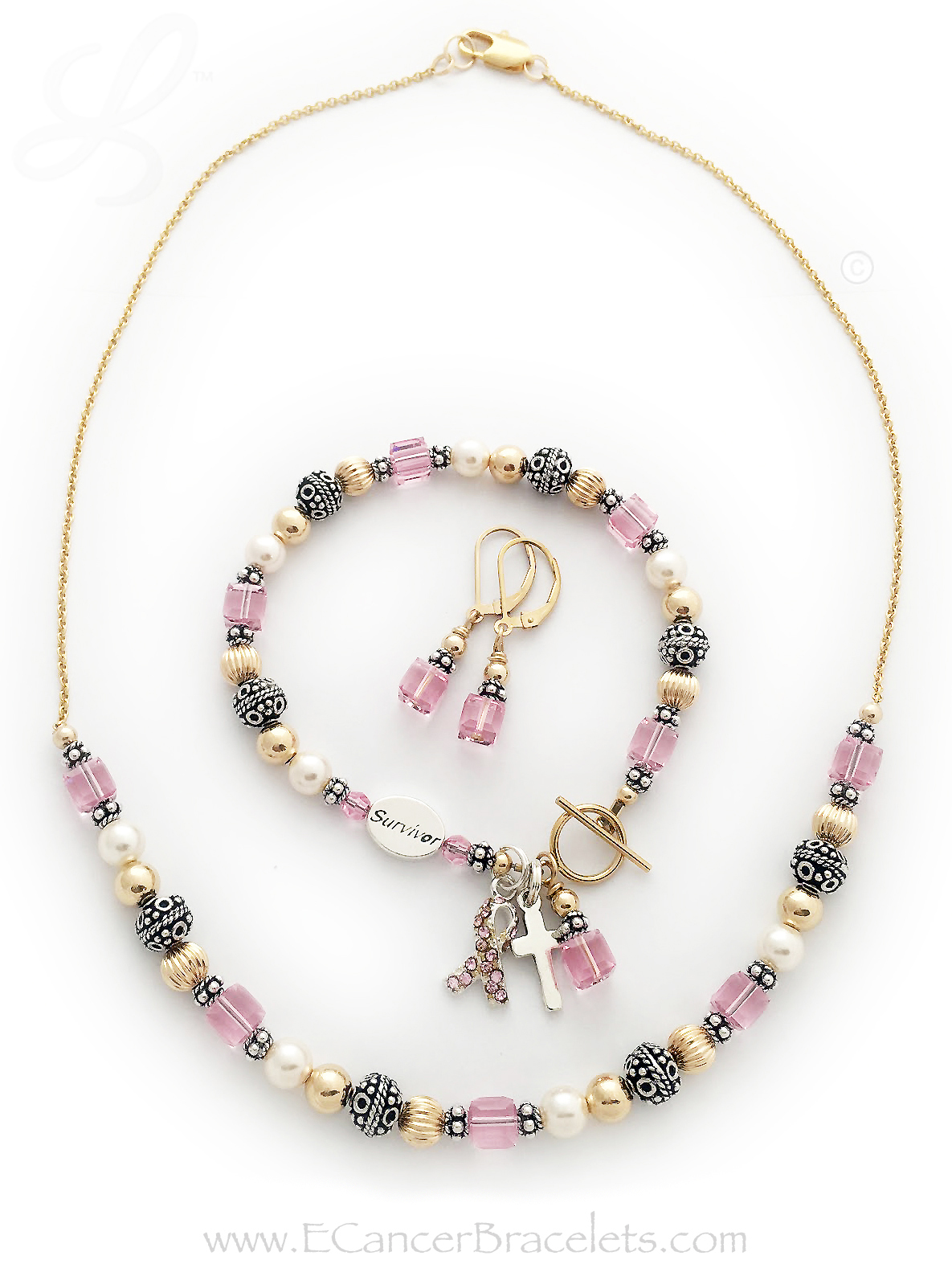 CBB-R26 - Breast Cancer Survivor Bracelet, Necklace and Earrings shown.Bracelet: They added a SURVIVOR bead, Simple Cross Charm, Pink Crystal Ribbon and 14k gold-filled smooth toggle clasp