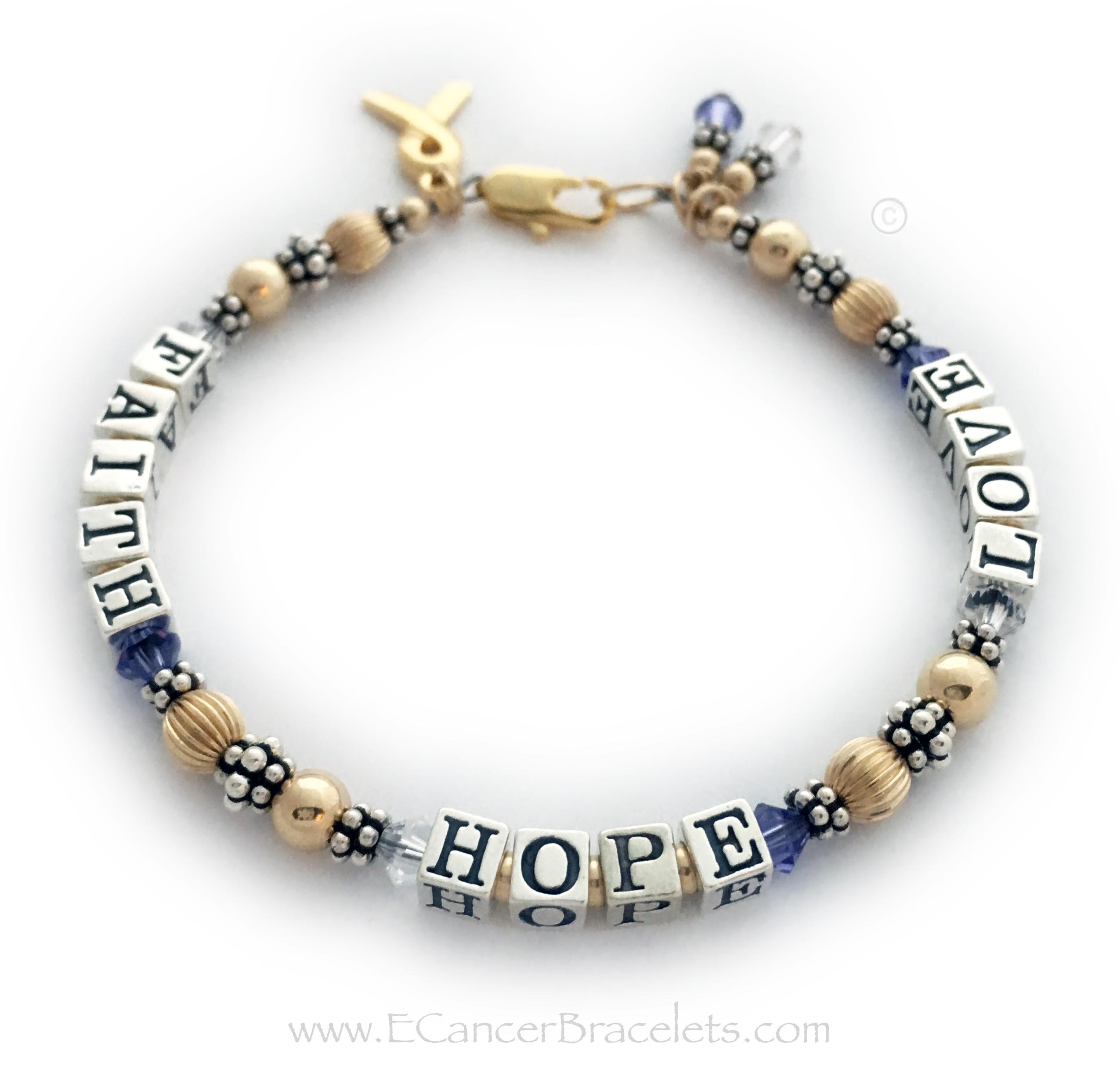 This Gold Faith Hope & Love Bracelet is made with 4.5mm sterling silver alphabet block letters and 14k gold-filled beads in between the letters, 4mm bicone Swarovski crystals (clear for Lung Cancer and Purple for Pancreatic Cancer crystals shown) .925 sterling silver Bali beads and 14k gold-filled beads. Size: 7""