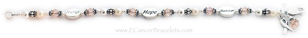 This Peach Ribbon Bracelet is shown with 3 message beads: Courage, Hope and Survivor. The bracelet comes with a Ribbon Charm. They added a Peach Crystal Dangle Charm to their order.