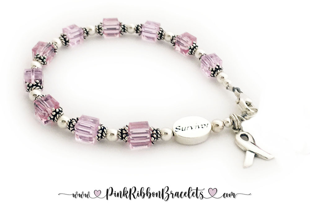 CBB-R28  (above) PINK or OCTOBER -This bracelet comes with 2 charms; ribbon and dangle/charm. Shown with a lobster claw clasp.